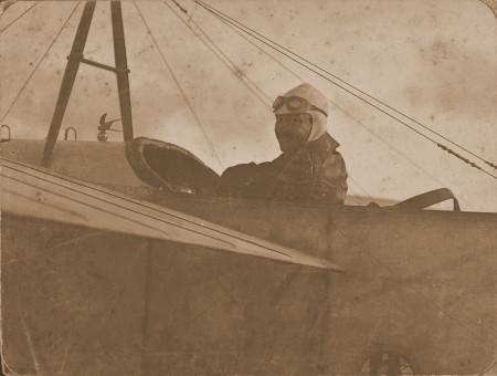 Maurice Guillaux in his Bleriot, taken in Australia in 1914