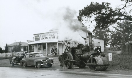Road roller being driven to the Goulburn Steam Museum by Bruce Macdonald.
