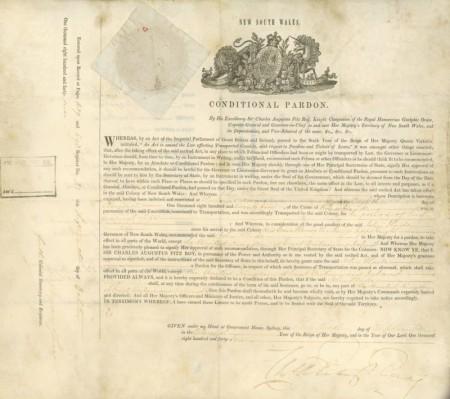 Copy of conditional pardon, 1847