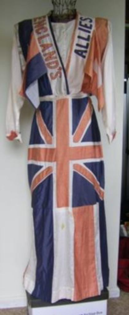 Tinonee Victory Parade Flag dress worn on Australia Day 1919