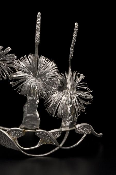 Detail of aluminium 'Tiara'  by Fiona Hall