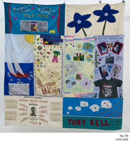 Australian AIDS Memorial Quilt, remembering Purli Sudds. Michael, Jeffrey, John B, Kevin G, Steve/Steven McKenny, Steven Wells, Anthony John Williams, Michael Wayne Garnam and Tony Kell