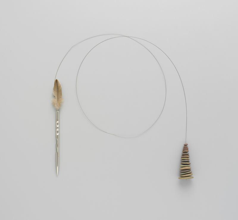 Photograph of Neckpiece, `Seventeen Stones with Steel & Feather'