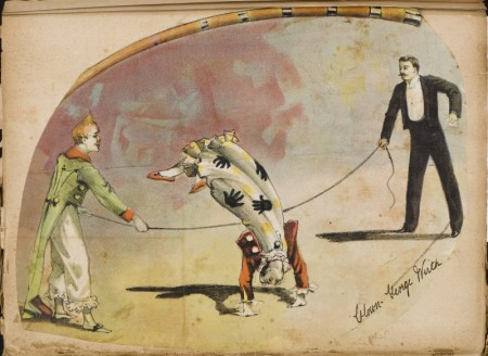 Illustration of George Wirth performing as a clown, from his scrapbook