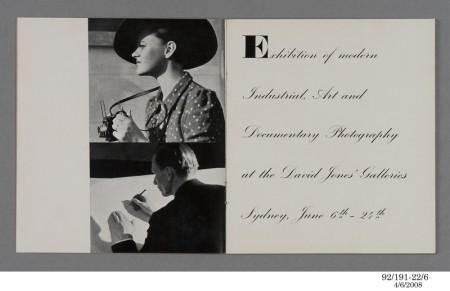 Inside view of Exhibition catalogue, David Jones Gallery, 1939