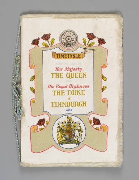 Railway timetable cover from the 1954 Royal Tour of Australia