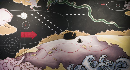 Image of mural painting, 'Zheng He and Columbus', acrylic on medium density fibre board (MDF), painted by Guan Wei for the exhibition, 'Other histories: Guan Wei's fable for a contemporary world