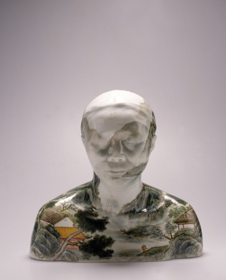 China series, Bust 28, porcelain body-cast, with hand painted over-glazed enamel in polychrome landscape design , made by Ah Xian (LIU Jixian) in Jingdezhen, Jiangxi Province, China in 1999.