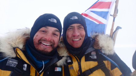 Photograph of the adventurers at the conclusion of their trek, photo supplied by James Castrission and Justin Jones
