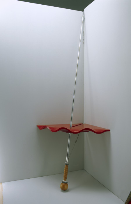 Photograph of 'Matador table', lacquered moulded MDF, chrome-steel, Huon pine, Corian, stainless steel, 1994 – 1995