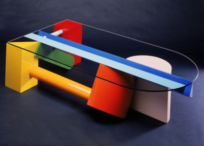 Photo of 'Colourblock' Coffee table, wood / glass, John Smith, Tasmania, Australia, 1984