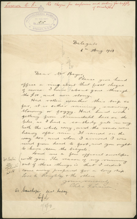 Photograph of letter from Charles Laseron to George Beyer, 6 August 1913, MAAS collection