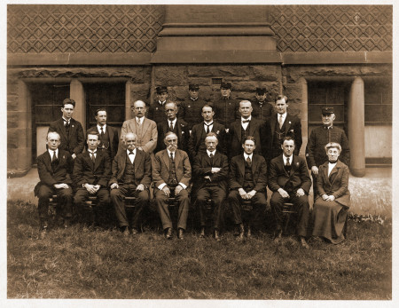 Photograph of Charles Laseron (front row, second from right) among staff at the Technological Museum, Sydney, 1919, MAAS Collection