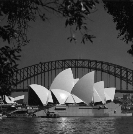 Photographic print of the Sydney Opera House under construction
