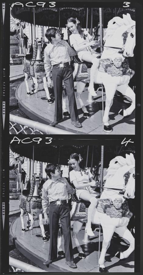 Photograph negative, children's clothing fashion shoot Luna Park carousel
