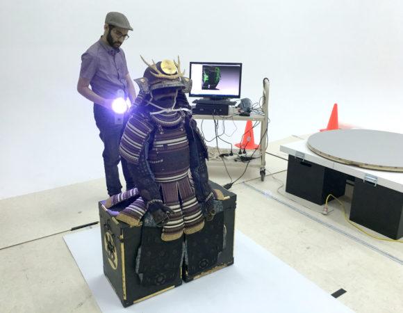 Photograph of James Tawadros scanning Samurai Armour