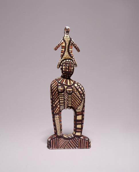 Ceramic figure, 'Bima and Purukapali with the Spirit of their Dead Son Jinani'