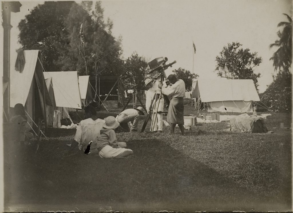 Observers photographing the eclipse during the 1908 Tahiti expedition