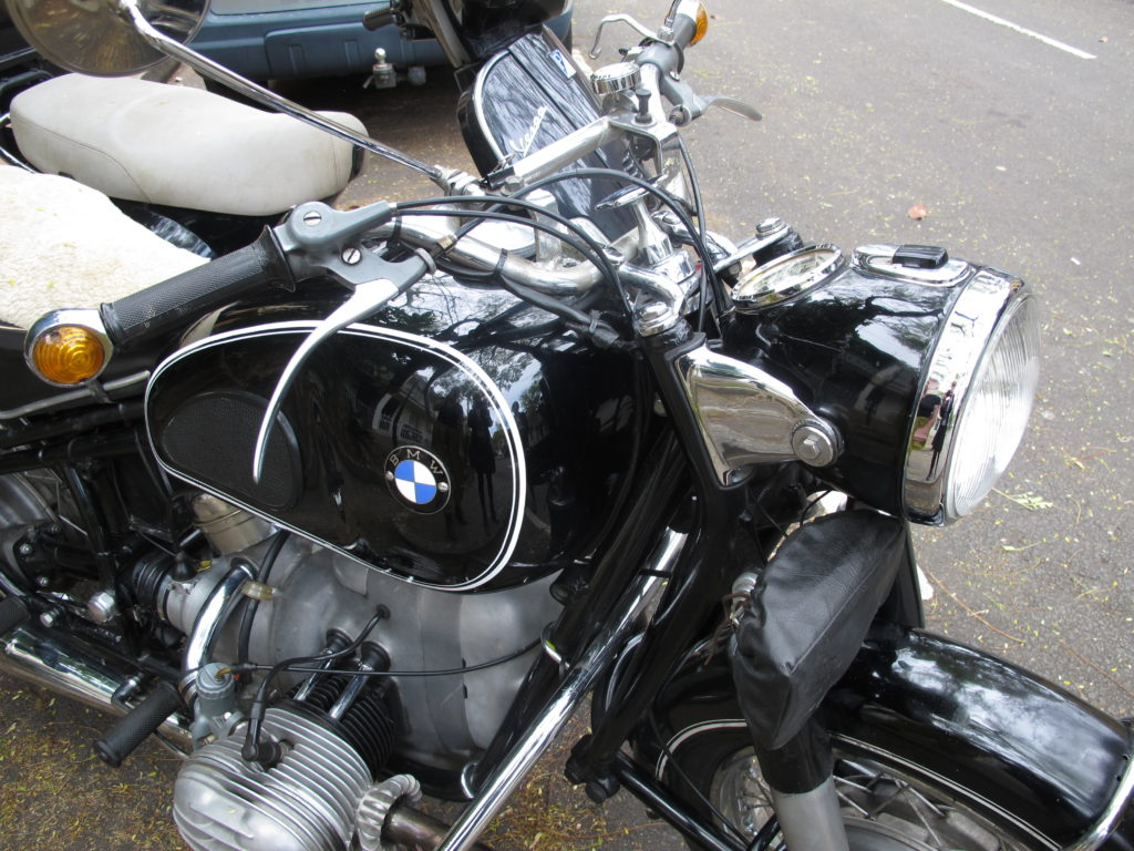 Detail of BMW R50, 500 cc, 26 hp, boxer twin-cylinder, touring and sport model motorcycle