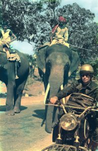 Charis on the road in India with elephants