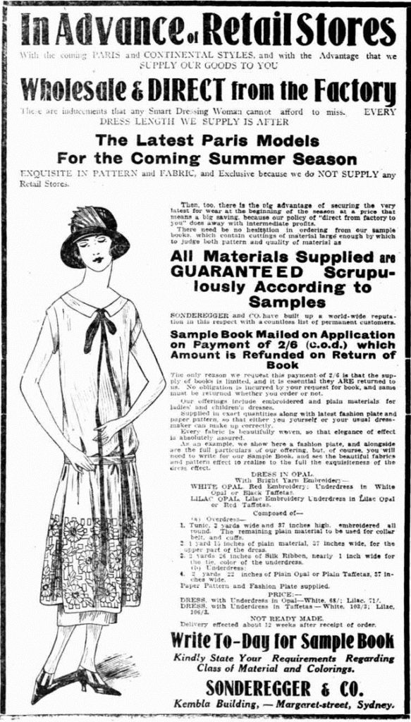Advertisement in 'Ladies section' of newspaper, showing advertisement for Sonderegger & Co and a women in 1920s dress.