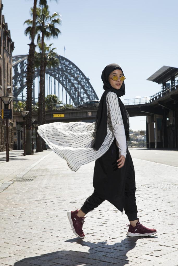 Delina Darusman-Gala in front of Sydney Harbor Bridge