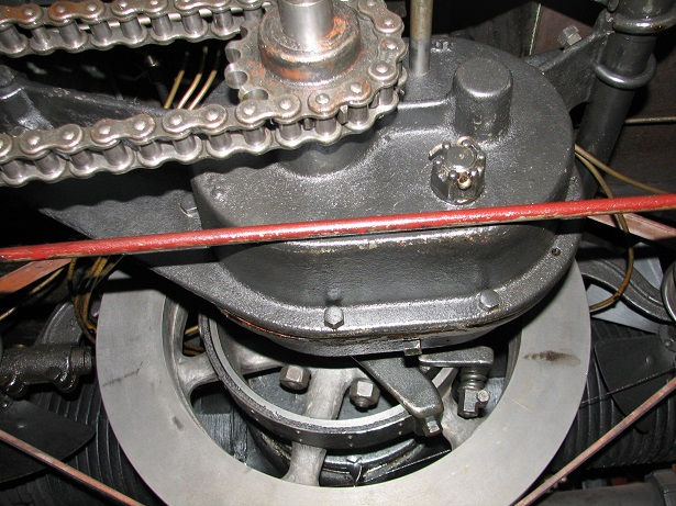 Detail of Chain drive, flywheel and the engine's horizontally-opposed cylinders