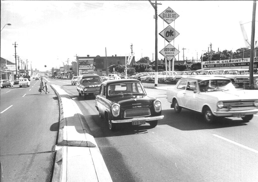 Roy Doring at the wheel of his electric Ford Prefect on Parramatta Road in the late 1960s