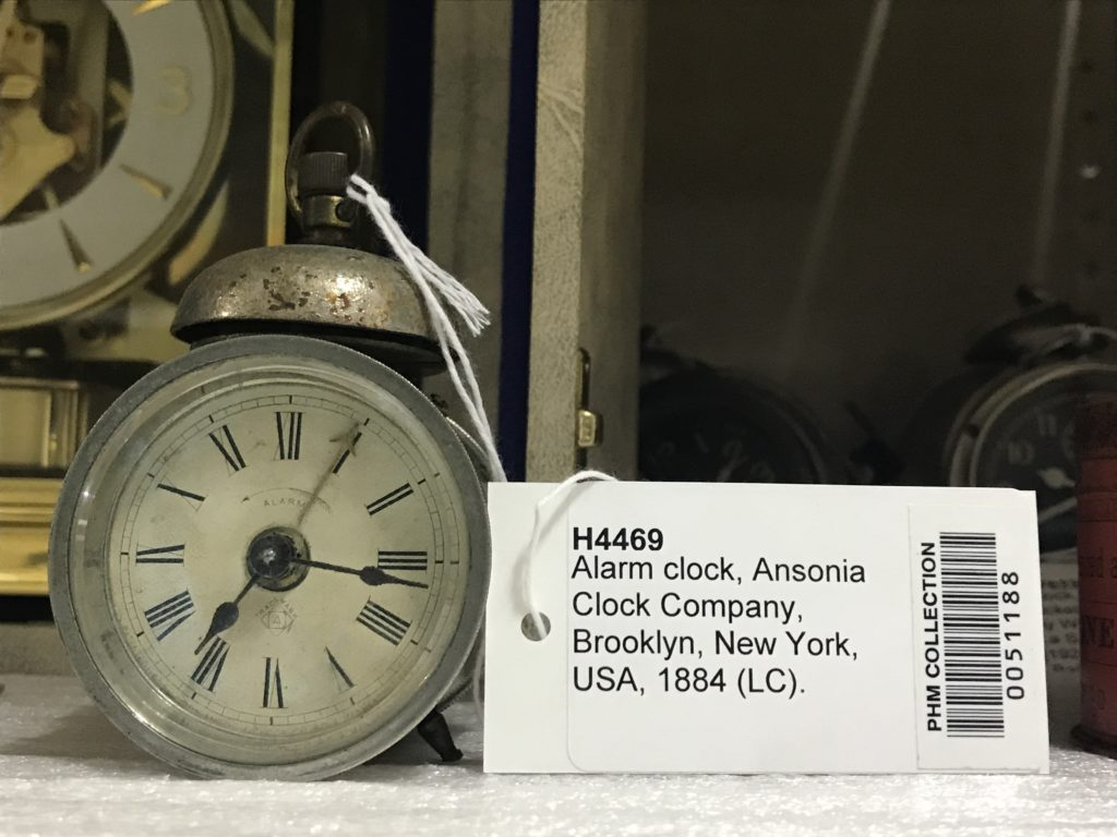 Detail of tag for clock in the collection
