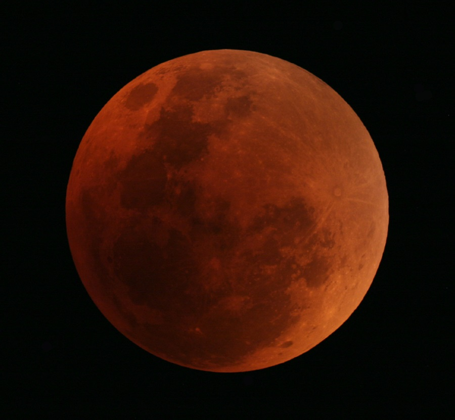 Red moon during a total lunar eclipse in Sydney in 2007