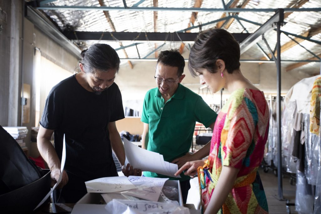 Akira Isogawa with MAAS curators Roger Leong and Kristina Stankovski in Akira's Sydney studio