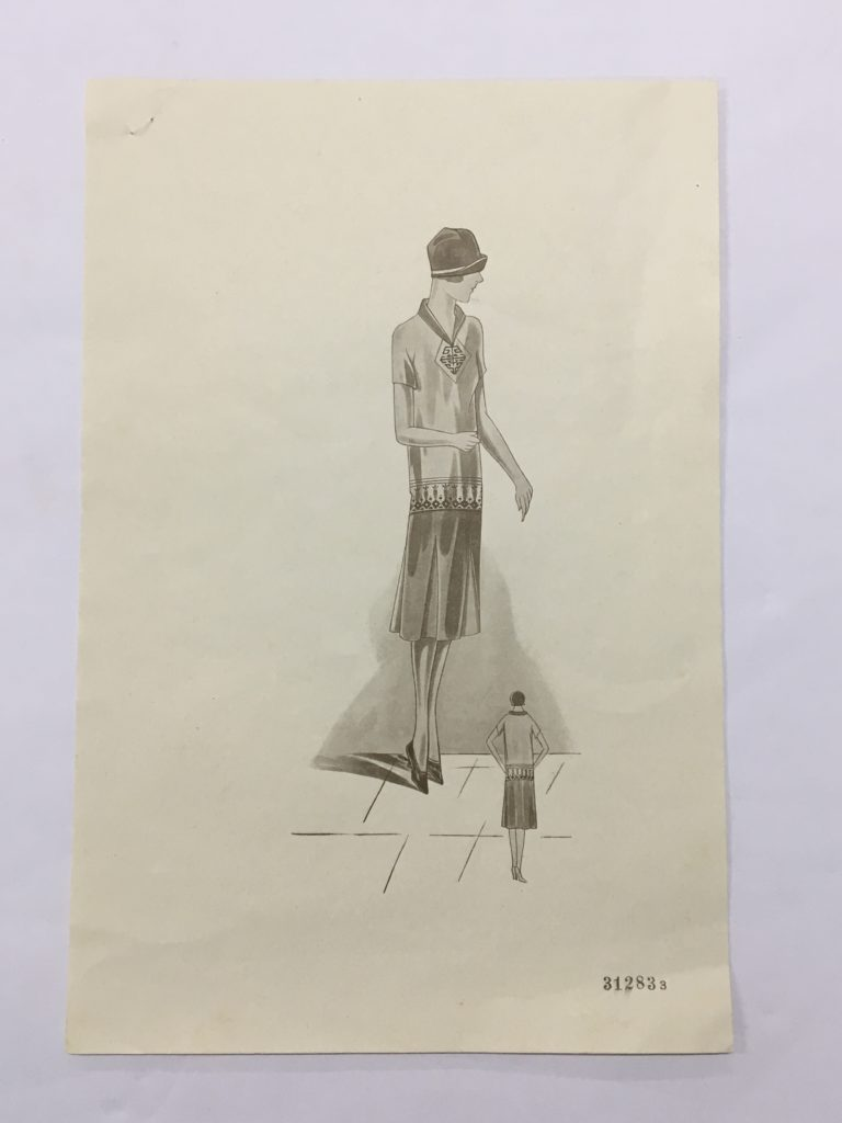 Fashion illustration showing a women wearing the dress, with views from the front and behind.