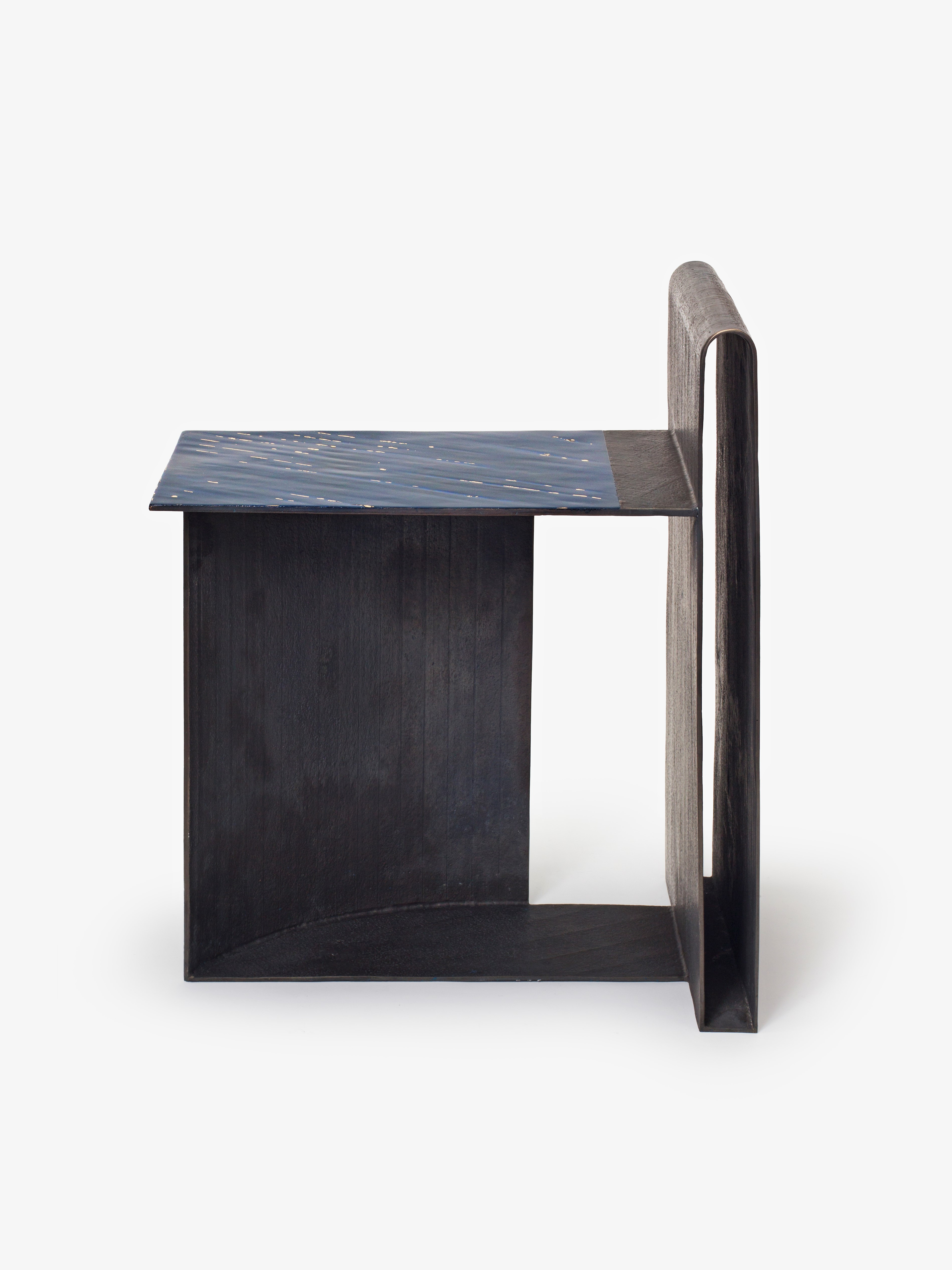 Bronze chair with Korean ott-chil lacquer seat