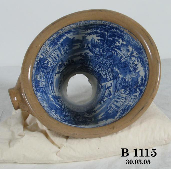 Blue transfer ware patterned toilet bowl