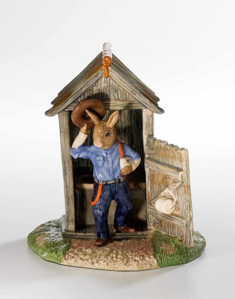 Porcelain Bunnykins figurine called 'Outdoor Dunny Bunnykins'