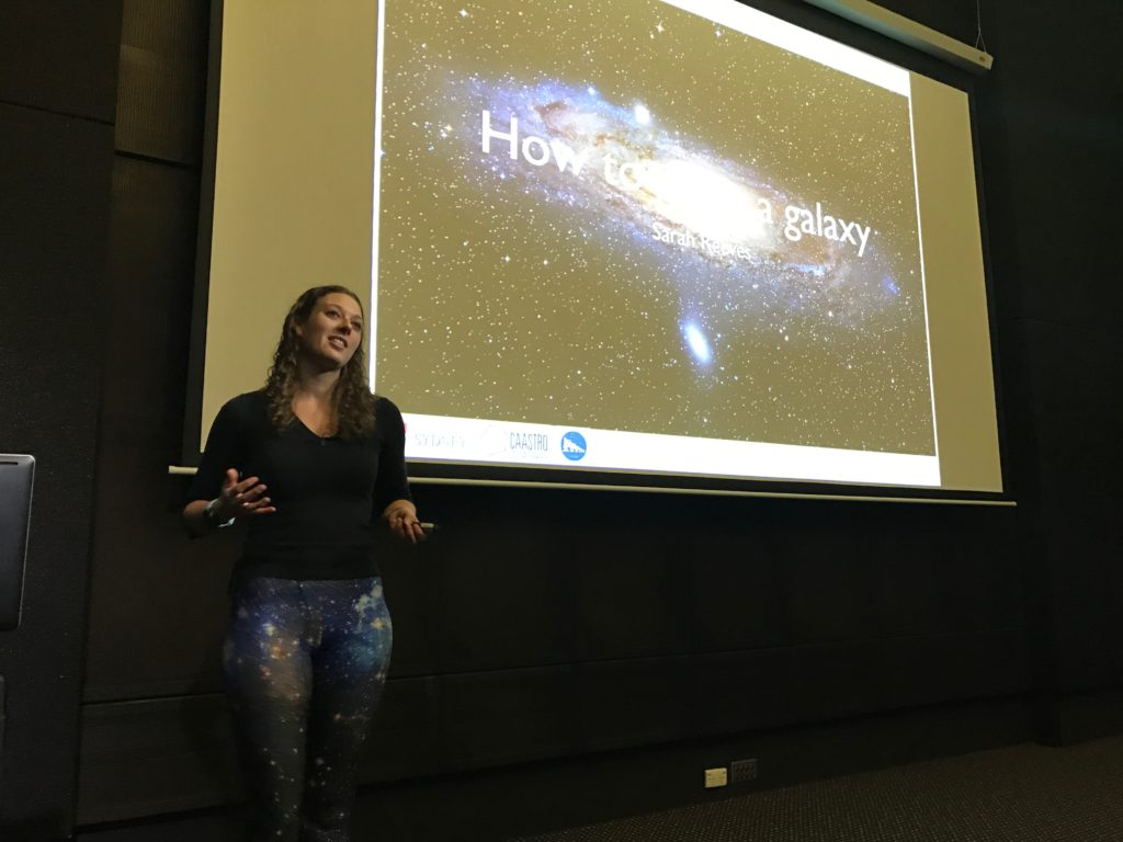 Sarah Reeves presenting astronomy research