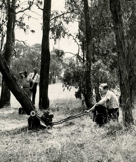 Ray Tijou, demonstrating a standard Victa's ability to cut down a tree