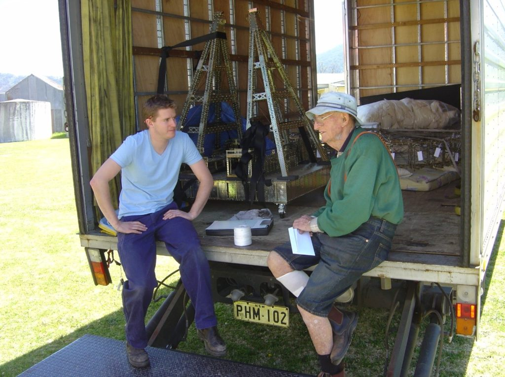 Scott talks to Fred Lane during the collection of Fred's giant Mecanno Ferris Wheel.