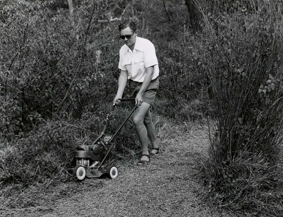 Male model demonstrates Victa Lawnmowers