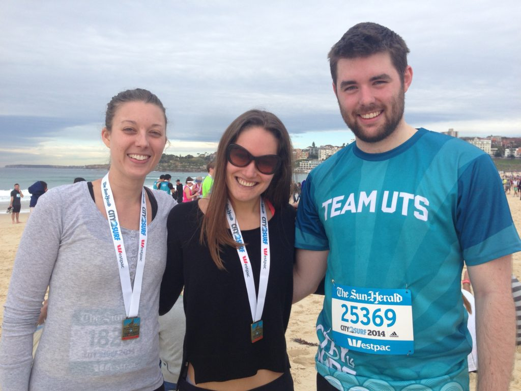 Sarah Reeves and friends finishing City to Surf