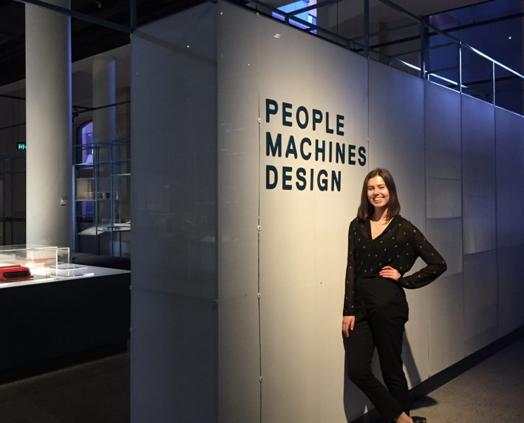 Kimberley Bezuidenhout at the entrance to the 'Interface: people, machines, design' exhibition