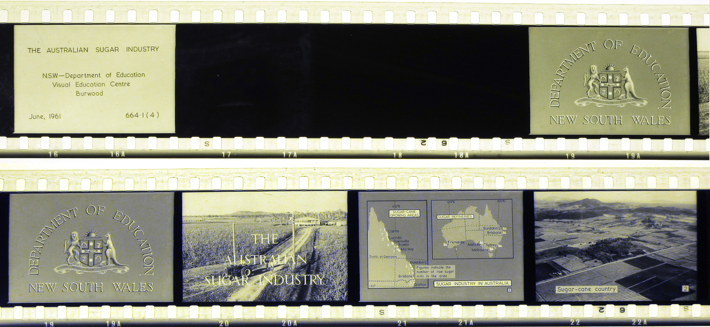 Six frames from a celluloid film strip featuring introductory pages, maps and photographs of sugar-cane growing in New South Wales.