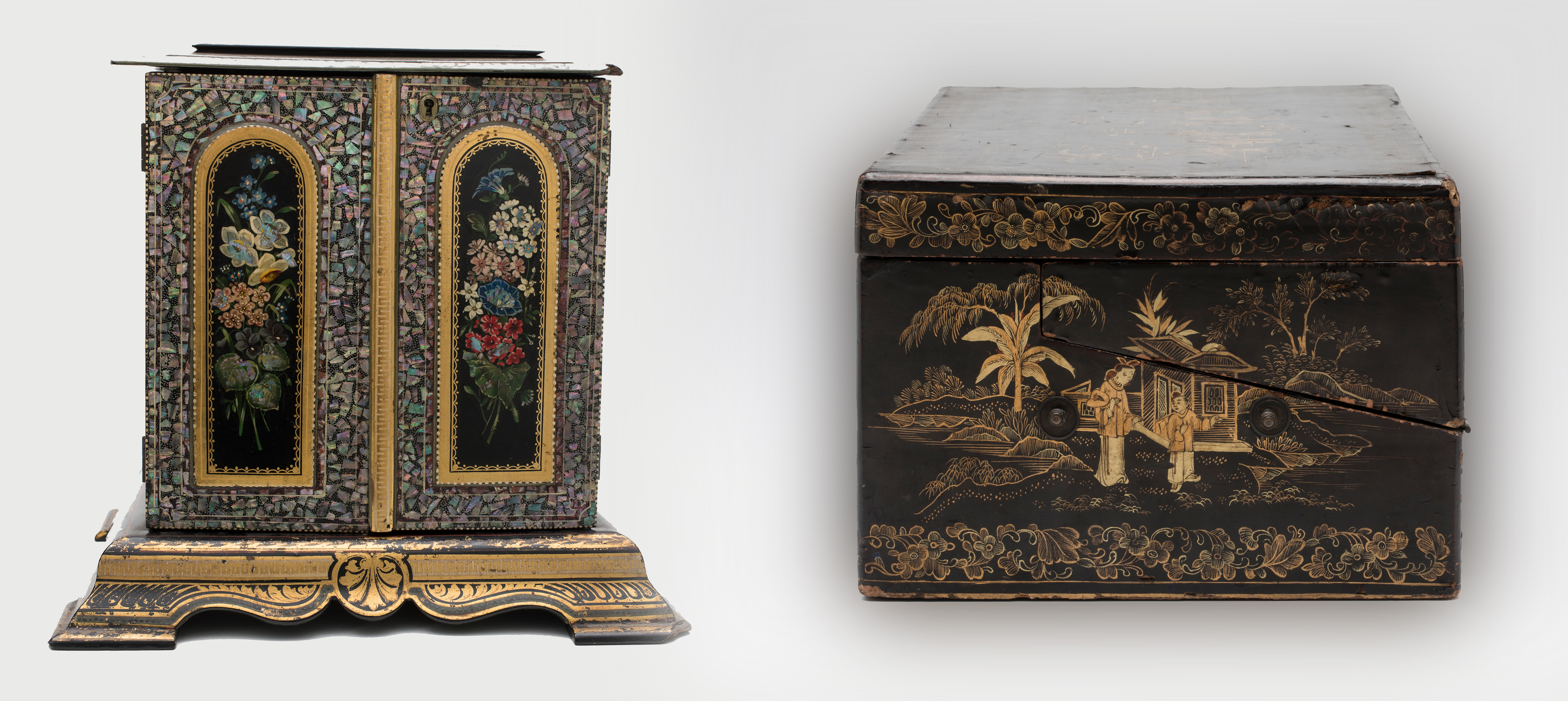 Two object images showing European made jaappned cabinet and Chinese made lacquer writing box.