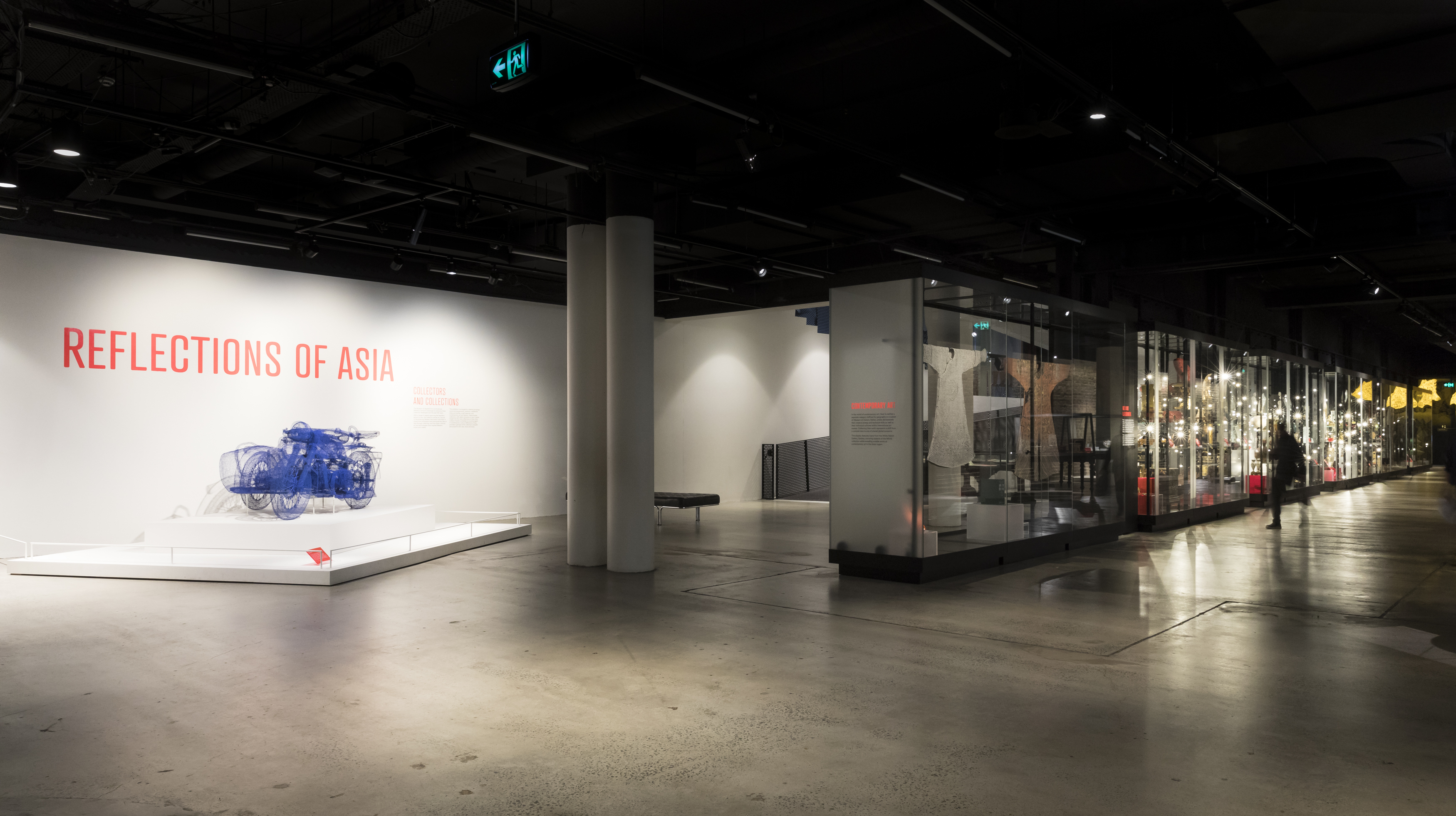 Overall exhibition view with title wall and glass showcases for a distance.