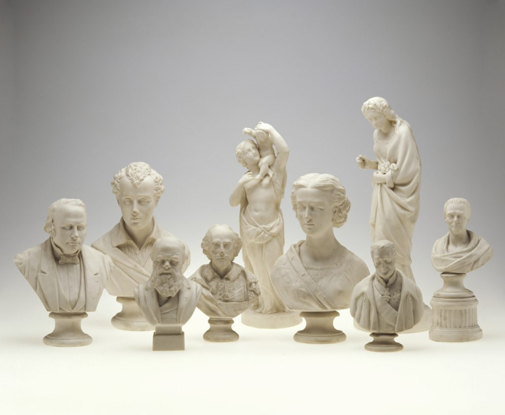 Seven white busts and two statues of composers and writers. Made from Parian porcelain in the 1800s . Collected and donated to the Museum by Thomas Lennard in 1921.