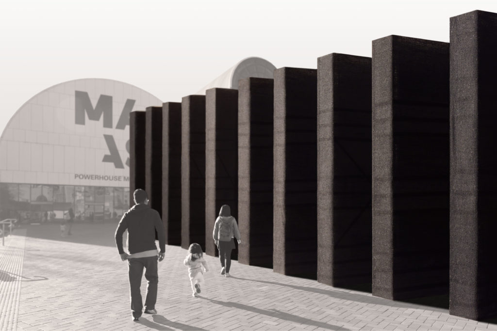 Image of an architectural model depicting columns on the Powerhouse Museum forecourt and a young family walking.