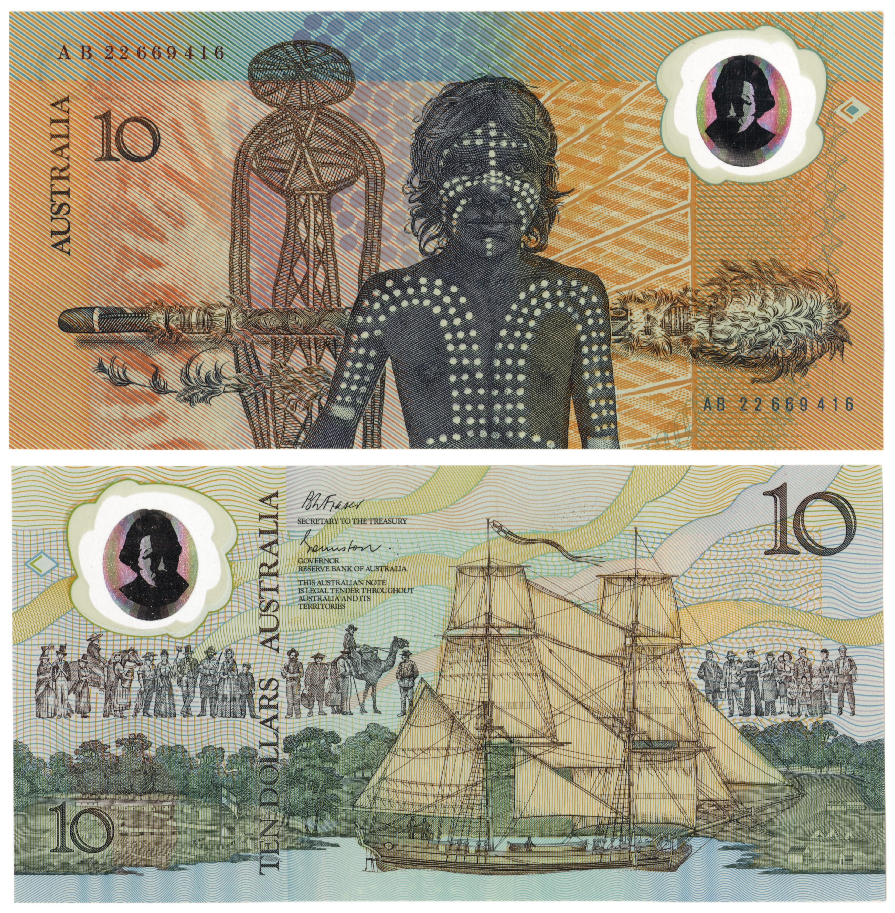 Two images above one another. Both images are banknotes designs from an Australian $10 note. One side depicts an Aboriginal man with body painting. The other shows a tall ship moored in a cove.