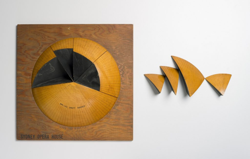 Wooden model of the Sydney Opera House, illustrating the shape of the opera house sails