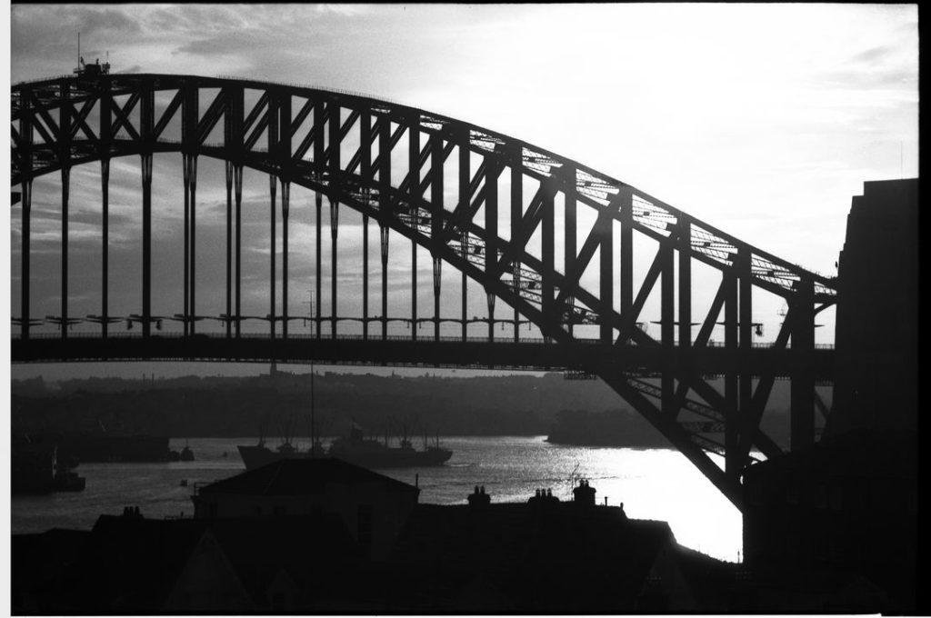Black and white Photograph , dusk on Sydney Harbour Bridge taken from Kirribilli