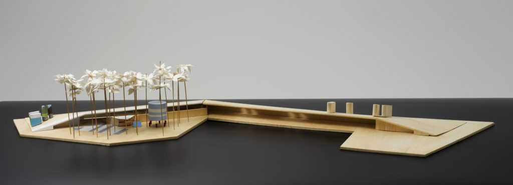 Architectural model of pool and surrounding landscaping